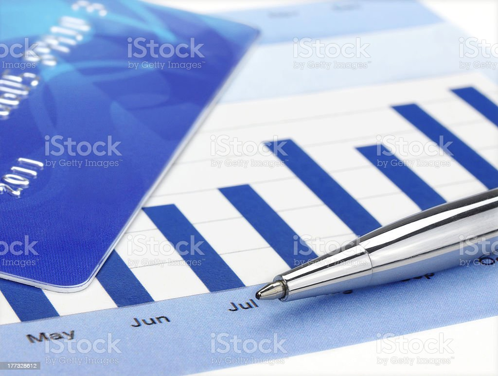 Pen on the Chart royalty-free stock photo