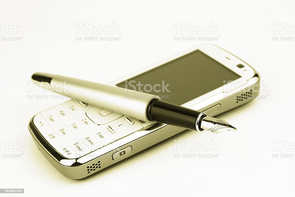 Pen on the phone royalty-free stock photo