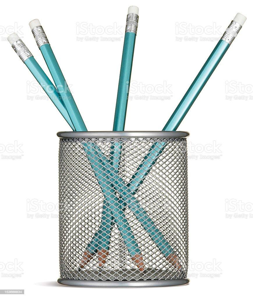 pen Bleistift pot mit blaue Stifte Lizenzfreies stock-foto