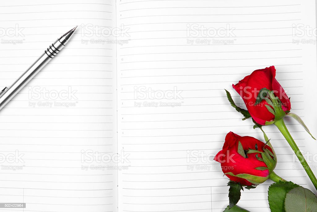 pen & red rose on empty note book stock photo