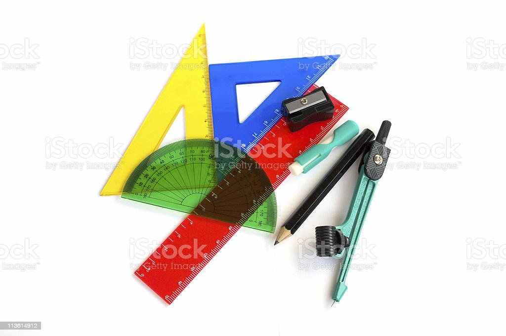 Pen, ruler and setsquare on white background royalty-free stock photo