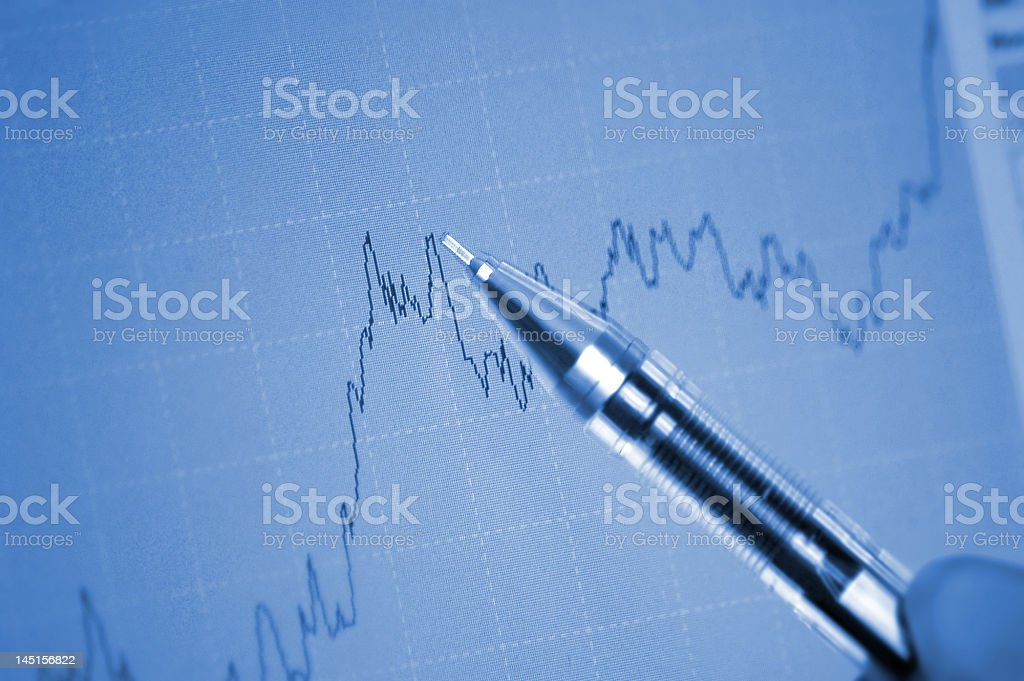 Pen showing a diagram on screen royalty-free stock photo