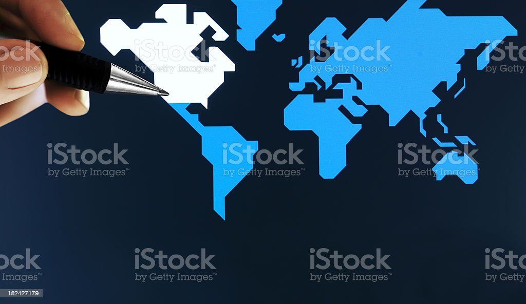 pen showing map on screen royalty-free stock photo