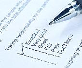Pen tick on questionaire