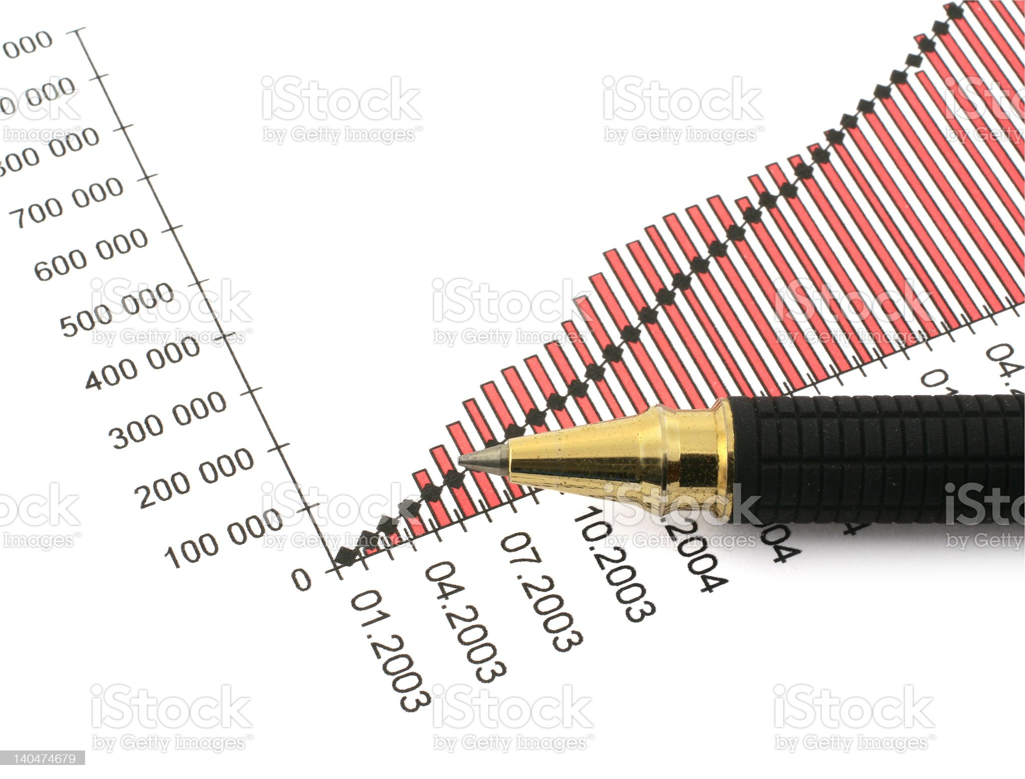 pen tip and business chart #3 royalty-free stock photo