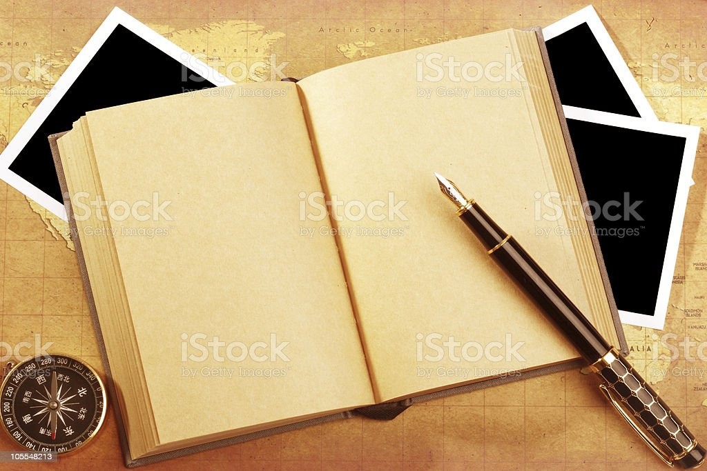 pen with book,photo,compass royalty-free stock photo