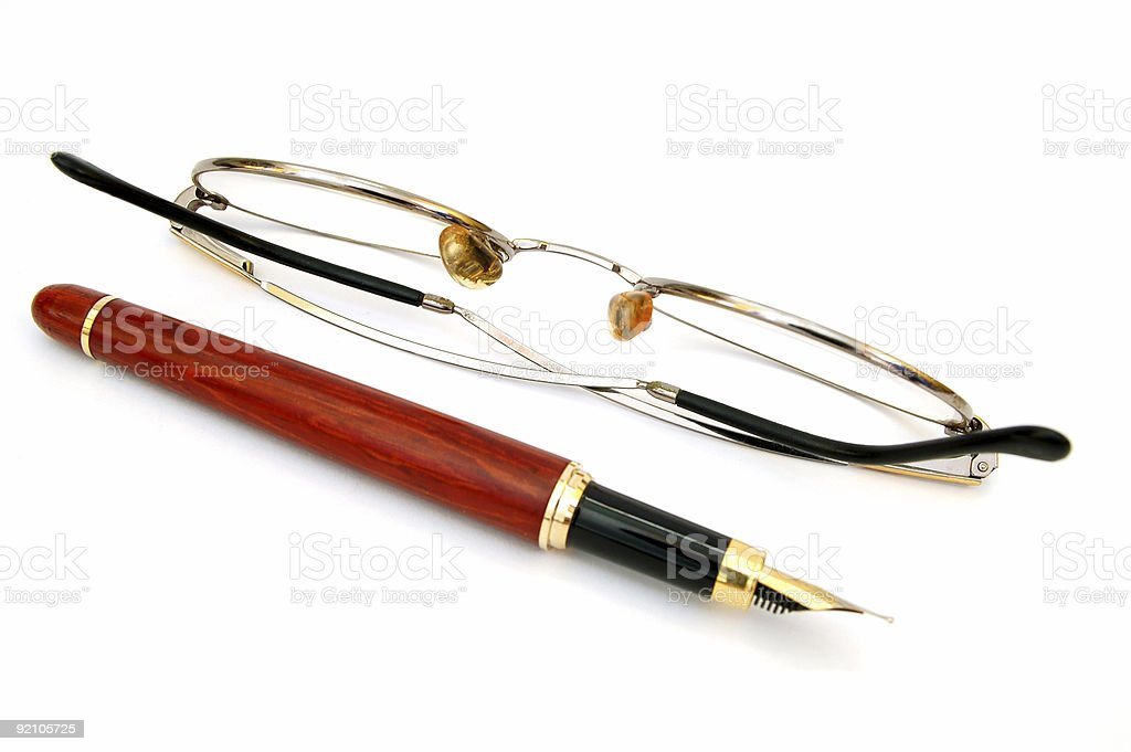 pen with glasses #4 royalty-free stock photo