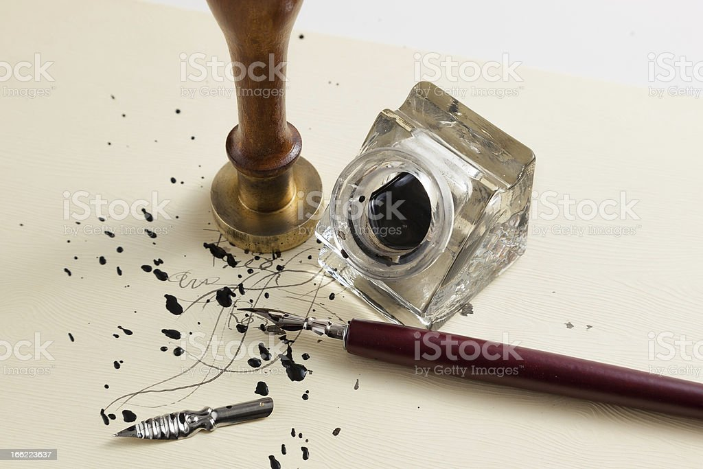 pen with inkwell royalty-free stock photo