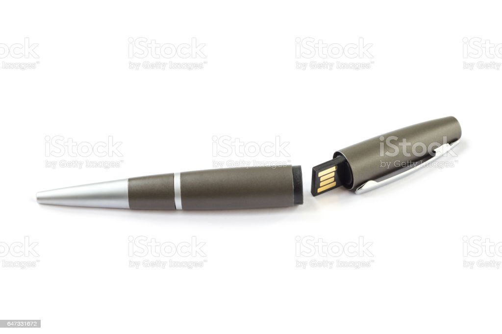 Pen with USB Stick stock photo