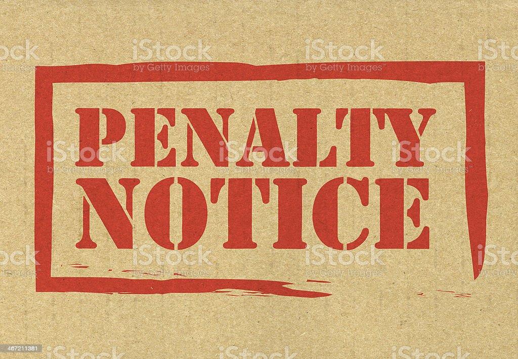 Penalty notice stock photo
