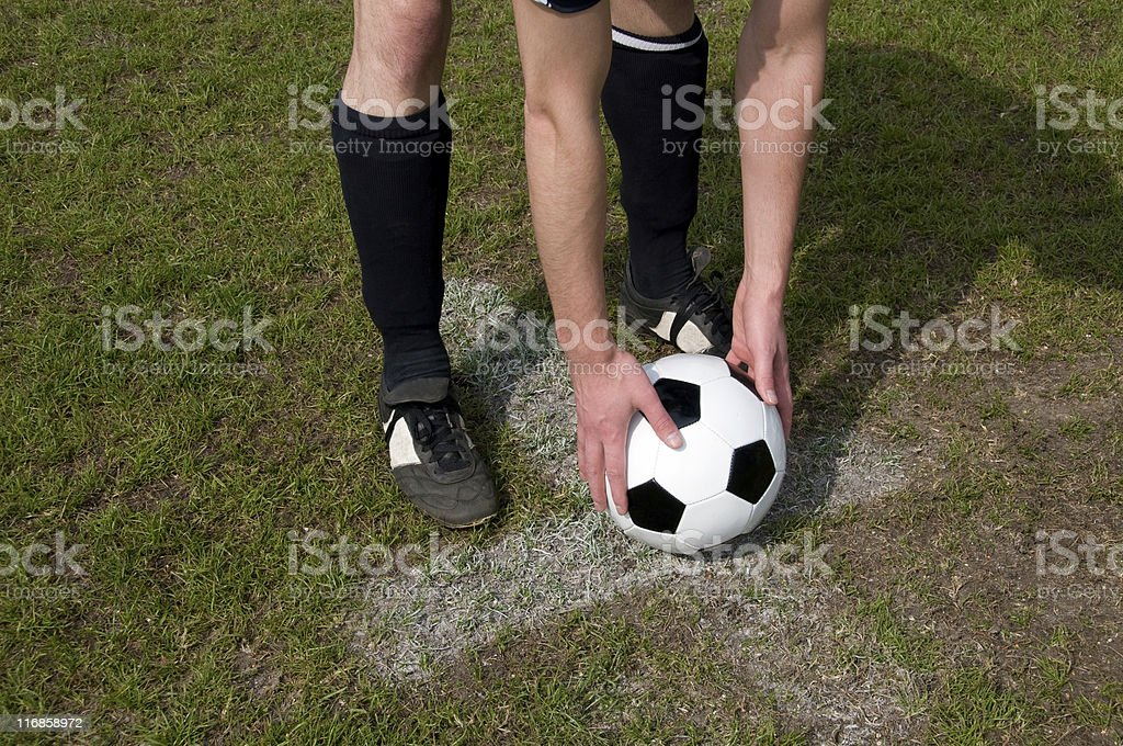 Penalty shoot out and ball placed on the spot royalty-free stock photo