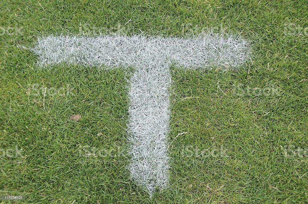 Penalty spot on a football field stock photo