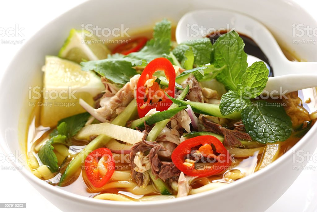 penang assam laksa, malaysian food stock photo