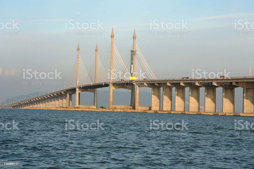 Penang bridge with ocean in view stock photo
