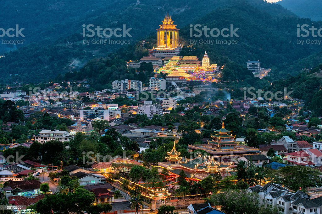 Penang Kek Lok Si Temple during Chinese New Year stock photo