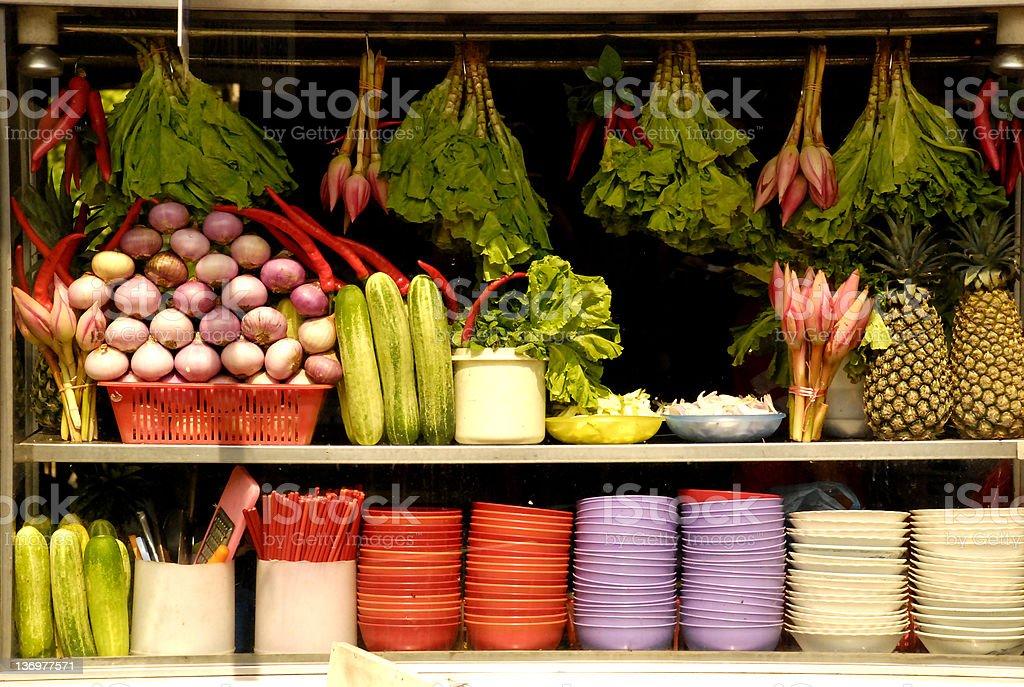 Penang laksa hawker stall stock photo