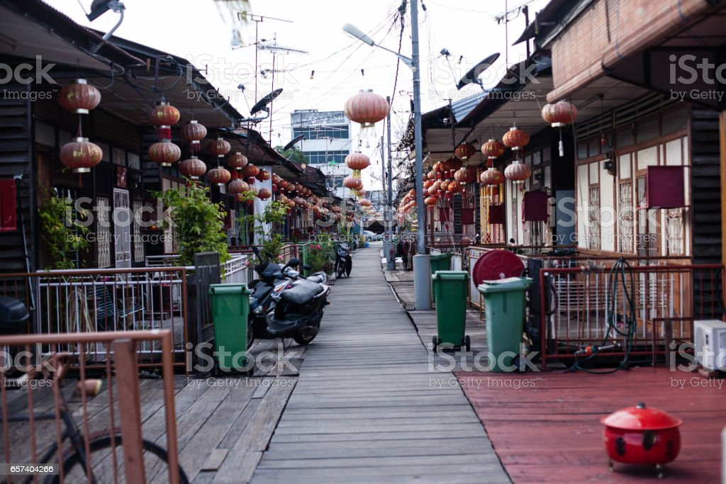 Penang, Malaysia architecture narrow streets stock photo