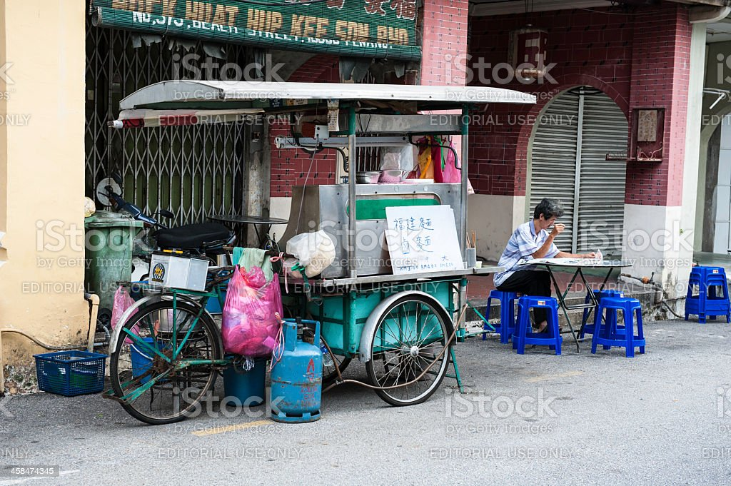 Penang street food tricycle cart stock photo
