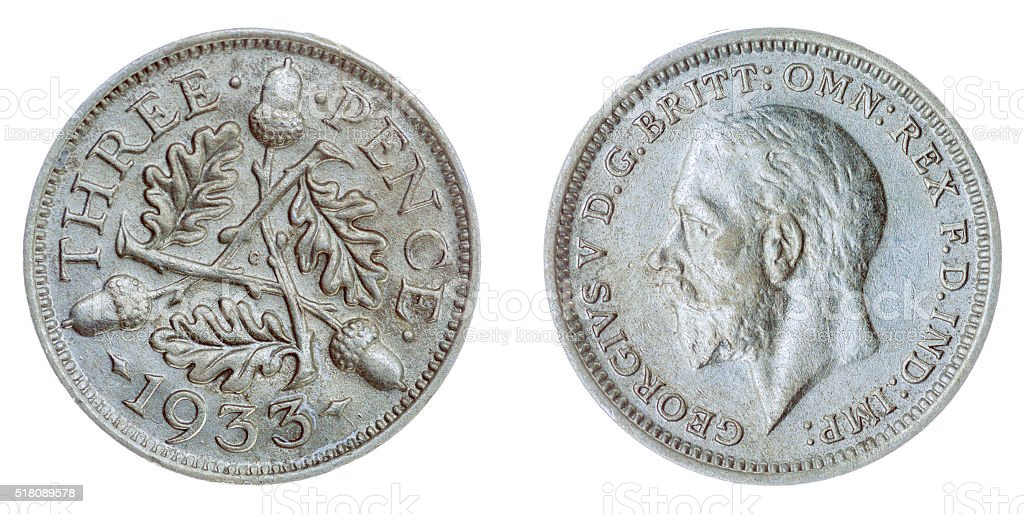 3 pence 1933 coin isolated on white background, Great Britain stock photo