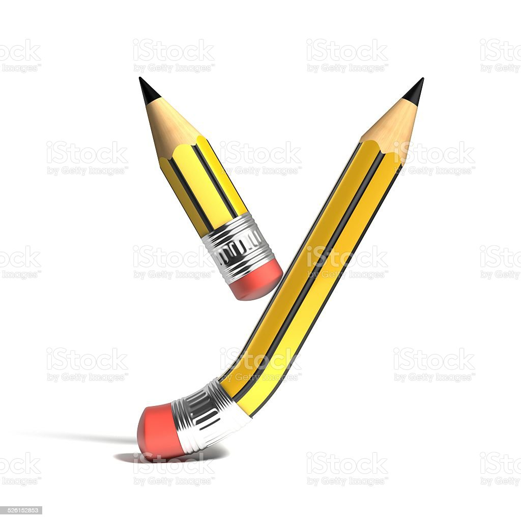 pencil 3d font letter Y stock photo