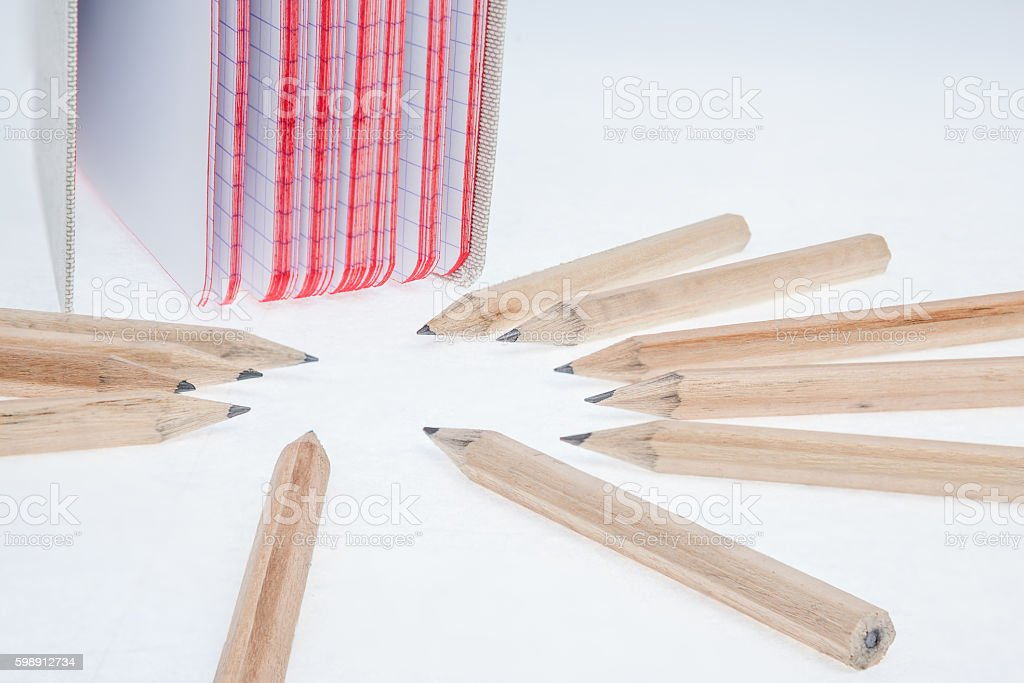 pencil and a notebook stock photo