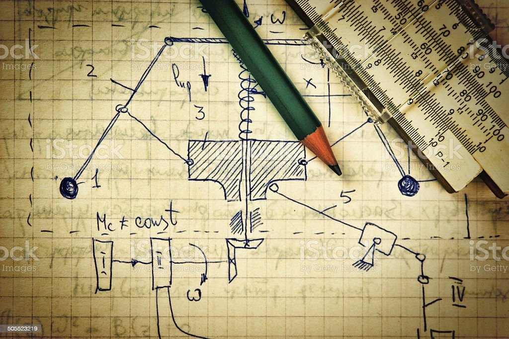 pencil and a slide rule on the old page royalty-free stock photo