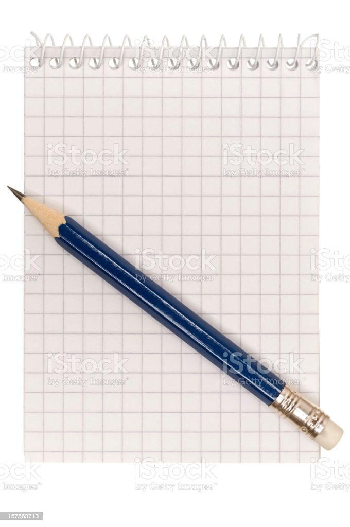 Pencil and blank white maths paper royalty-free stock photo