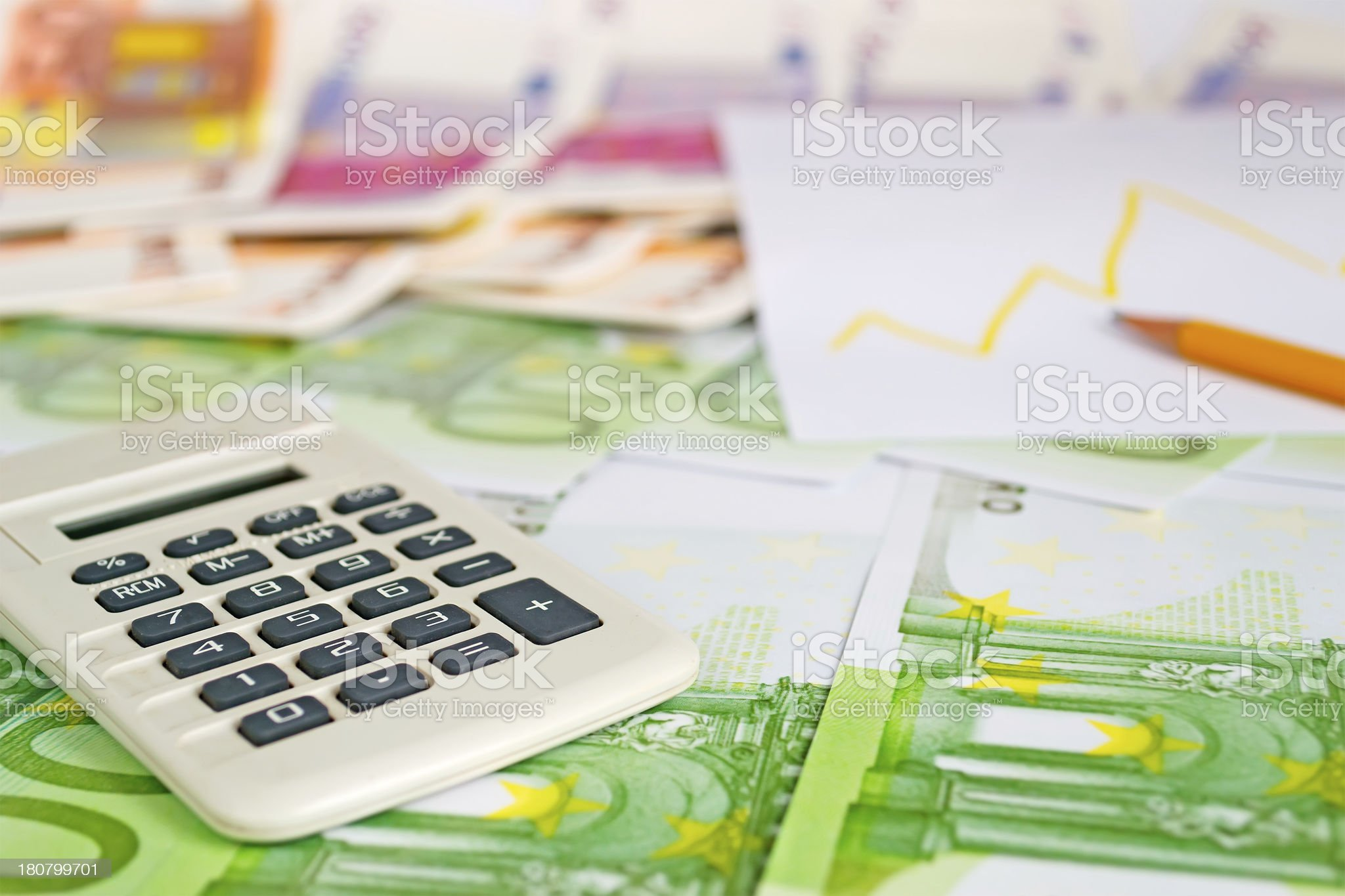 pencil and calculator royalty-free stock photo