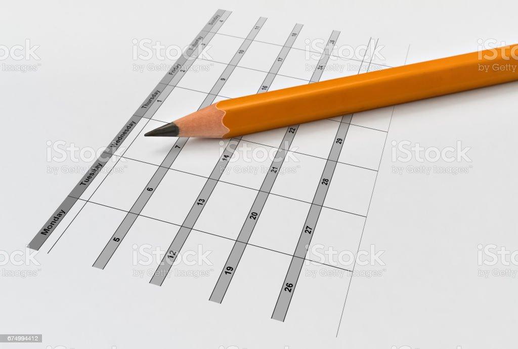Pencil and calendar stock photo