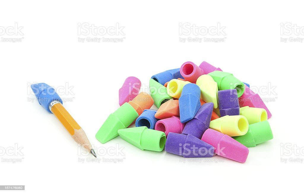 Pencil and Colorful Erasers stock photo