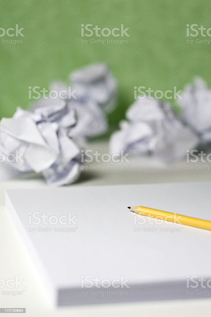 Pencil and Crumpled Paper royalty-free stock photo