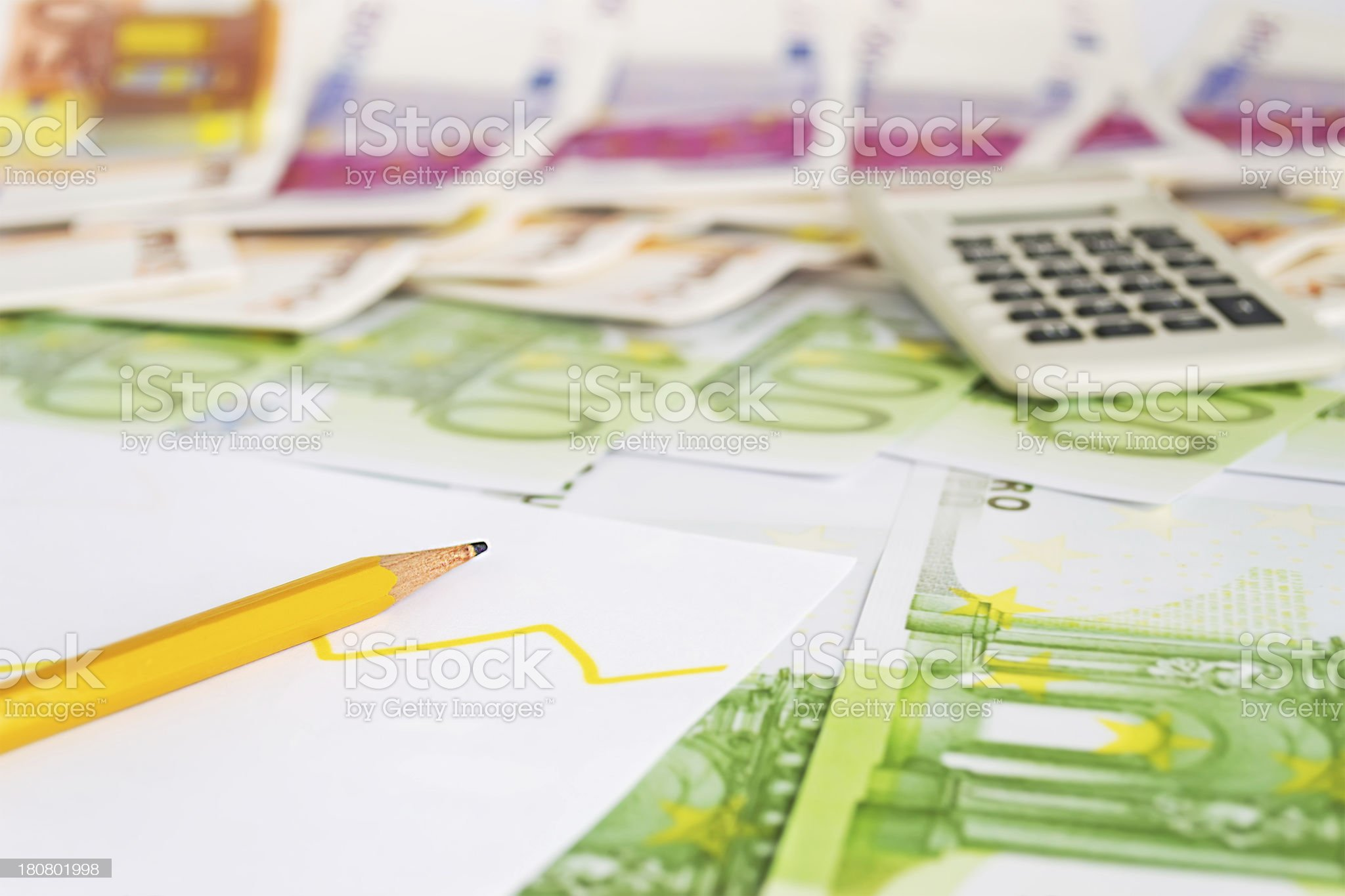 pencil and diagram royalty-free stock photo