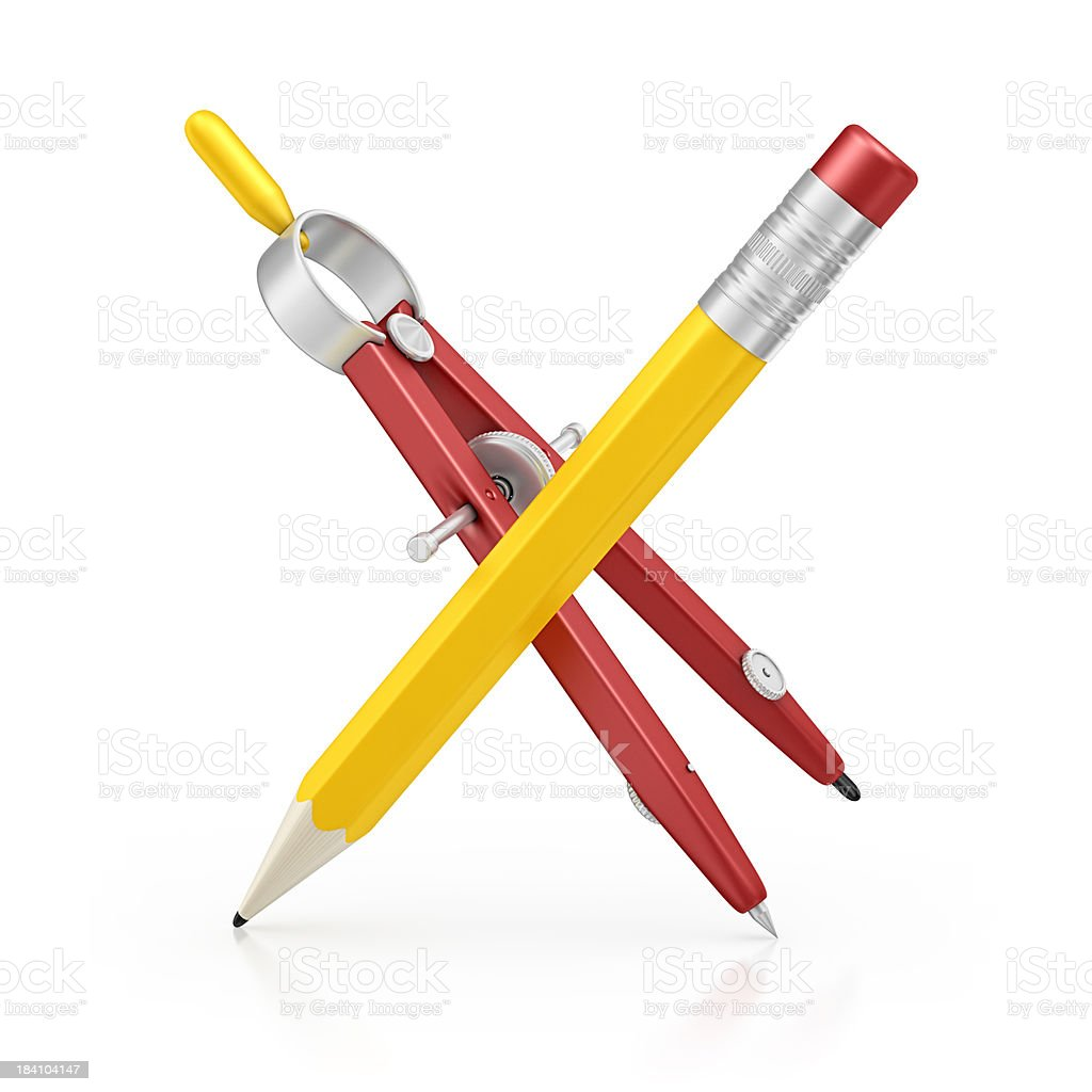 pencil and drawing compass royalty-free stock photo