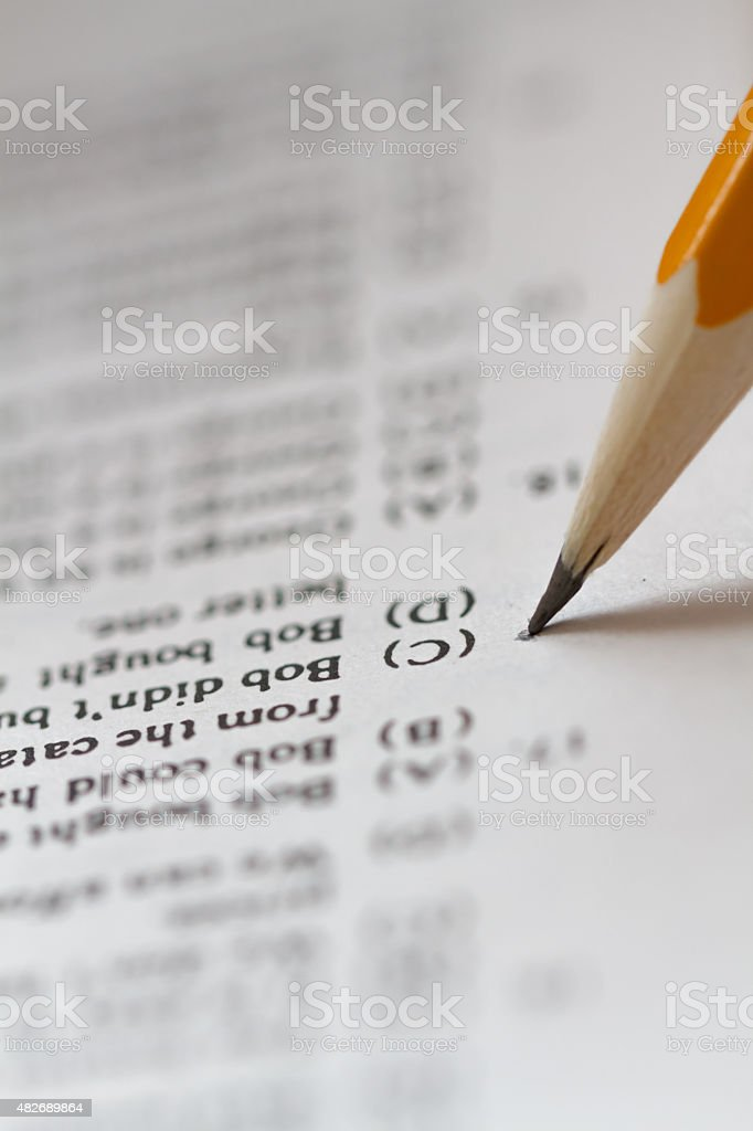 Pencil and examination test with choices stock photo