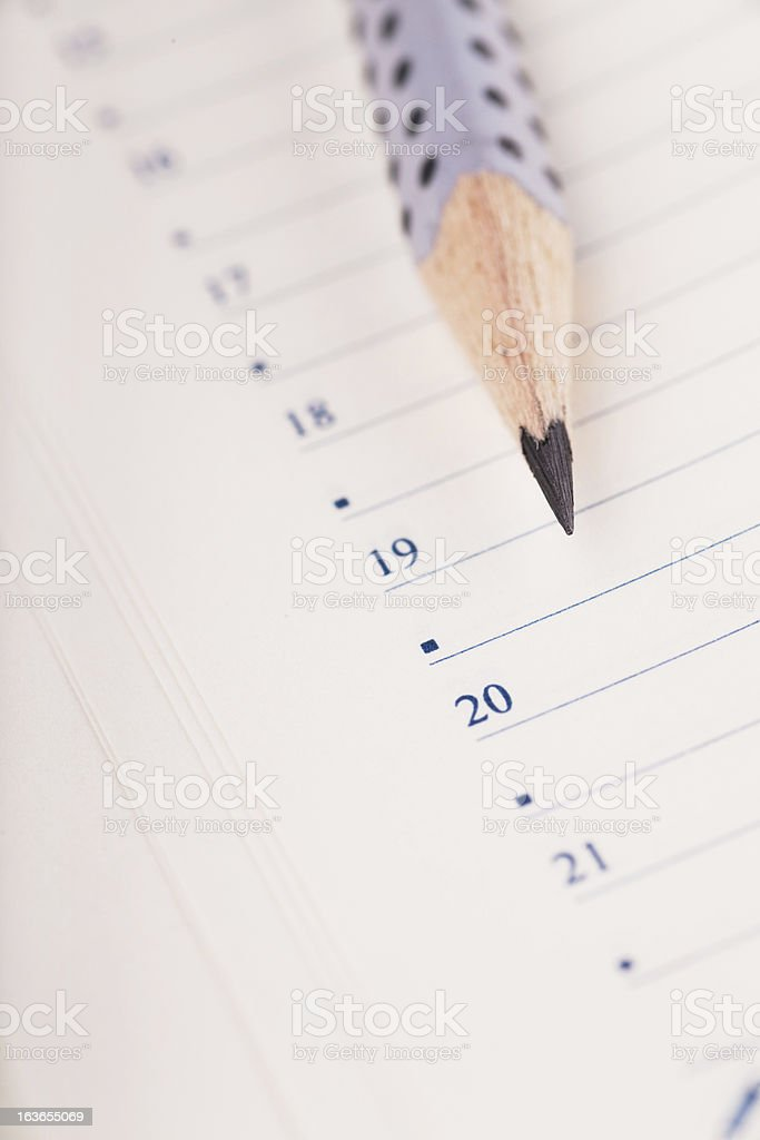 Pencil and organizer royalty-free stock photo