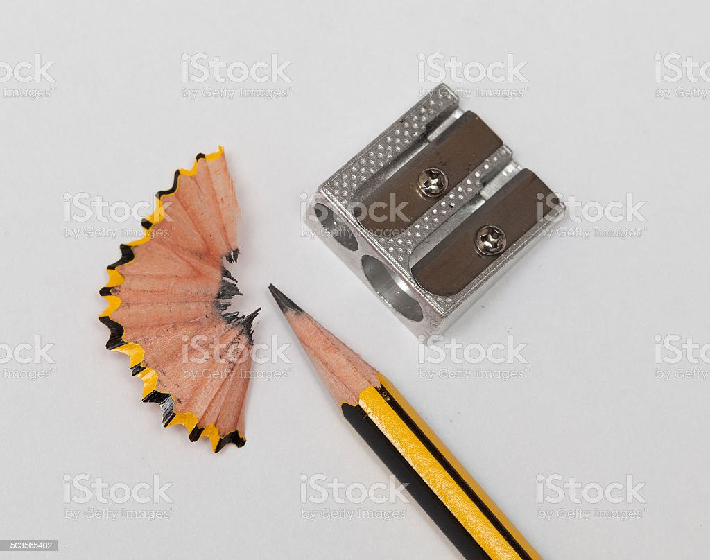 Pencil and pencil sharperner stock photo