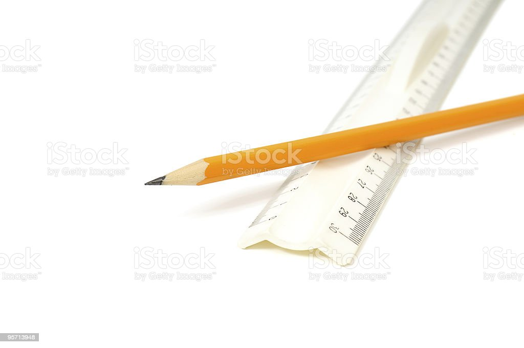 pencil and ruler royalty-free stock photo