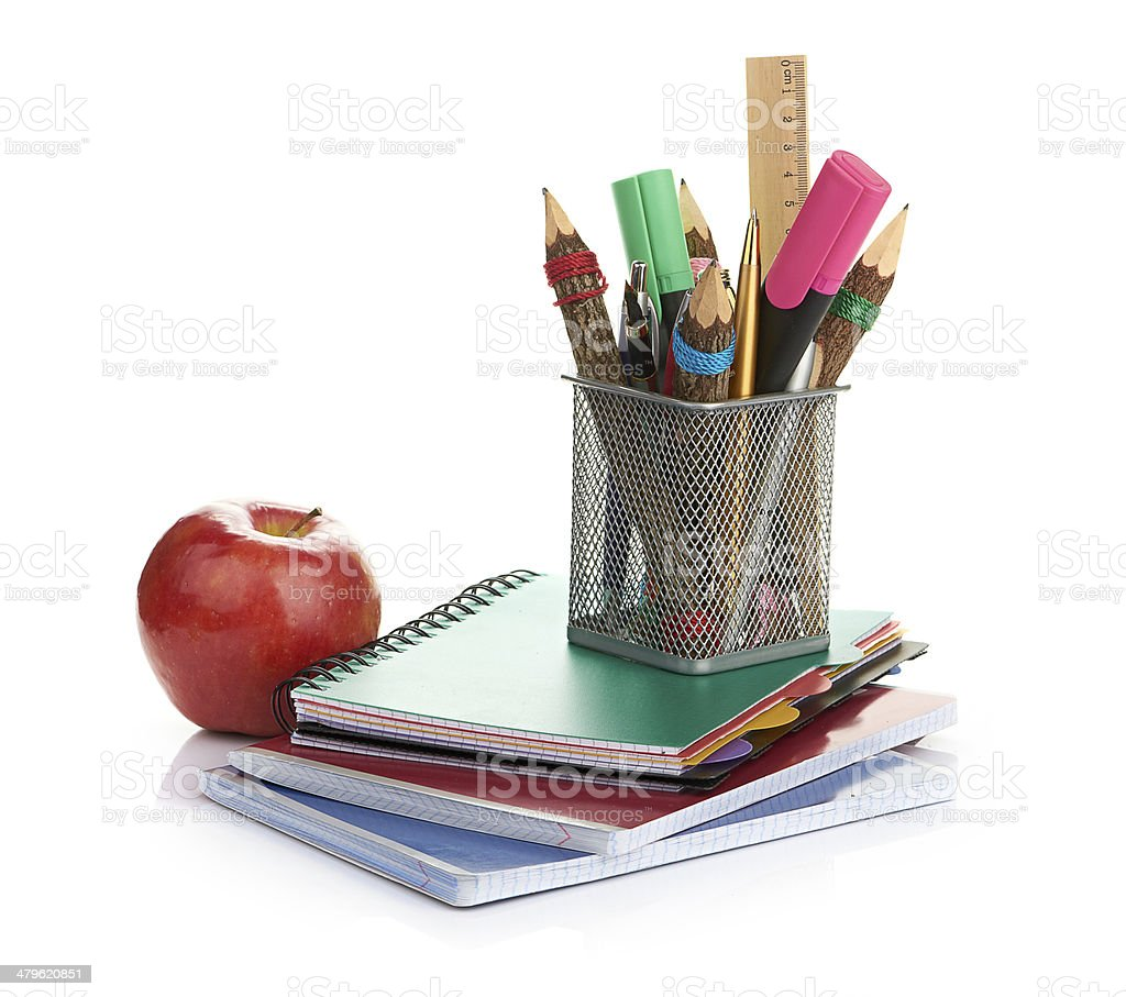 pencil box with school equipment royalty-free stock photo