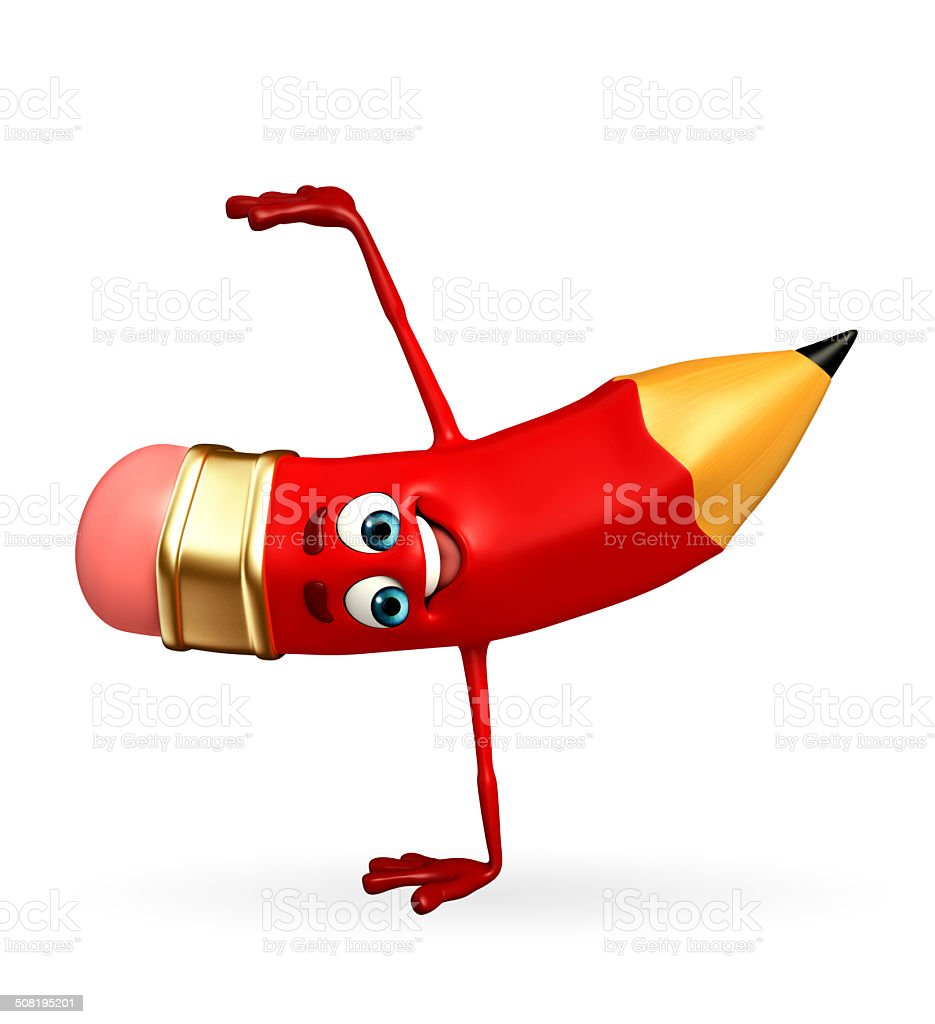 Pencil Character with hand standing stock photo