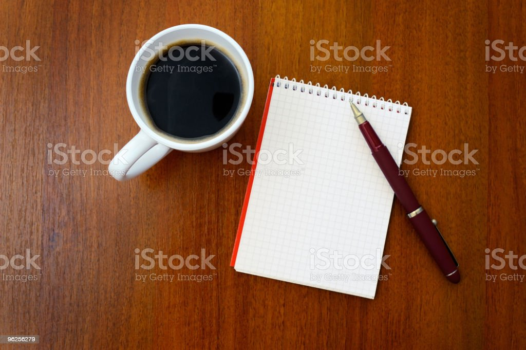 Pencil, coffee, notebook royalty-free stock photo