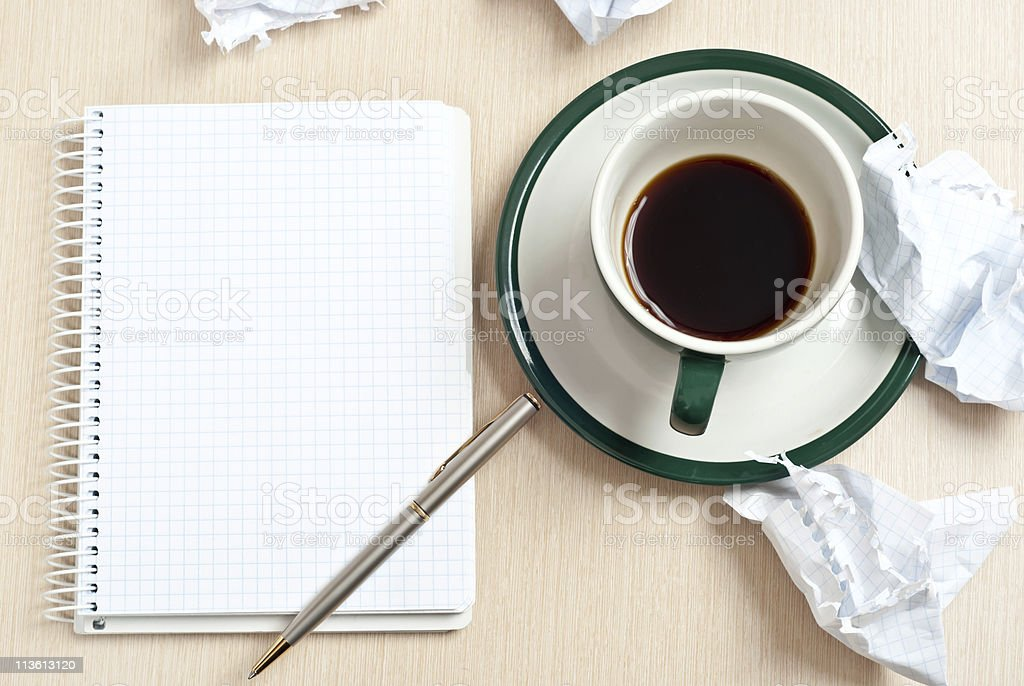 Pencil, coffee, paper royalty-free stock photo