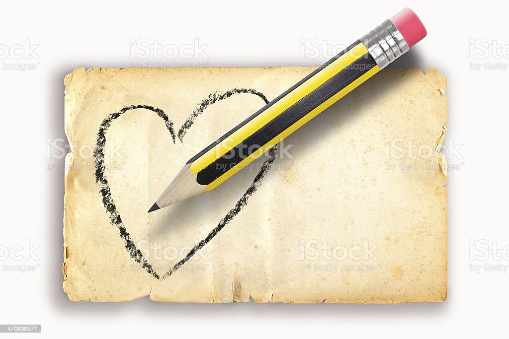 Pencil drawing heart shape on old paper royalty-free stock photo