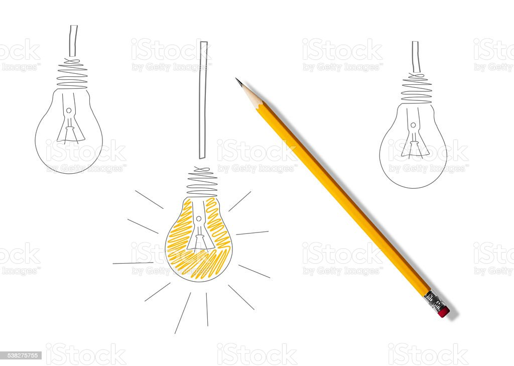 Pencil drawing of 3 light bulbs 1 coloured yellow stock photo
