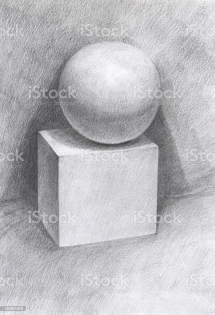 Pencil drawing of a cube and sphere royalty-free stock vector art