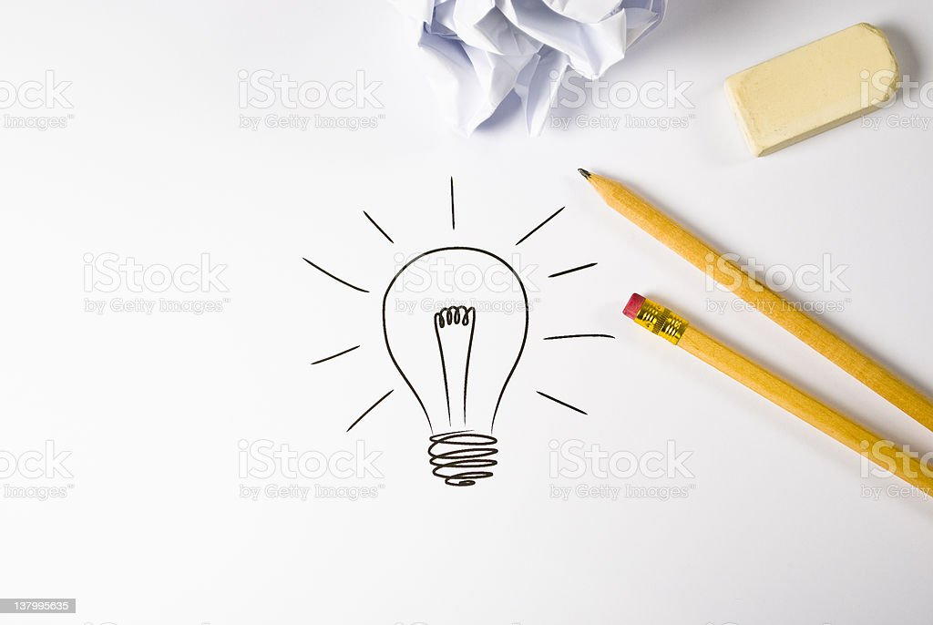 A pencil drawing of a light bulb stock photo