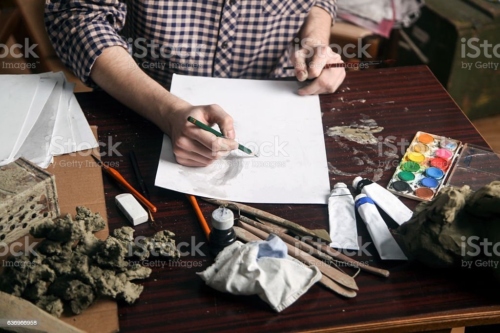 Pencil drawing stock photo