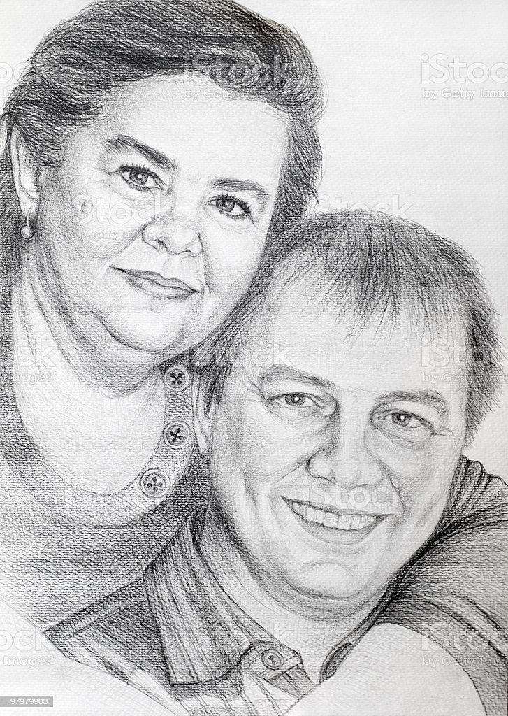 pencil drawn portrait of middle-aged couple royalty-free stock photo