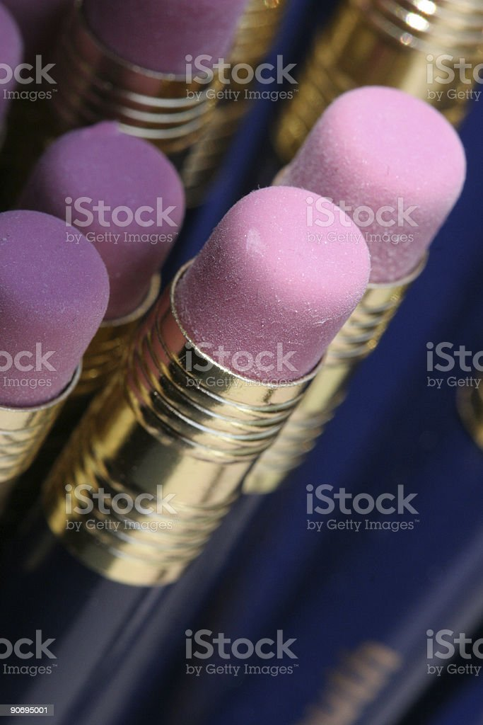 Pencil erasers stock photo