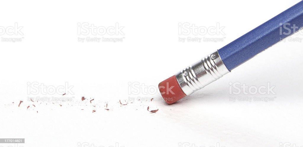 Pencil erasing a mistake stock photo