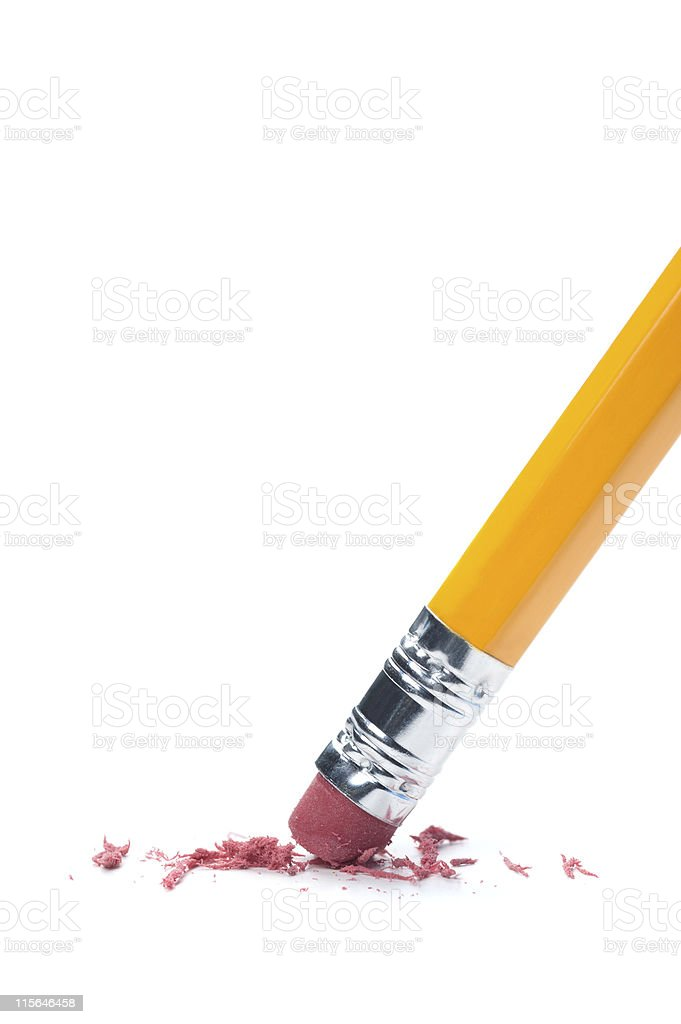Pencil erasing on a white surface stock photo